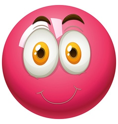 Happy face on pink ball vector image vector image