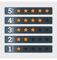 Star rating signs in flat style with numbers vector image
