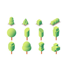 3d isometric set trimmed trees and vegetations vector image