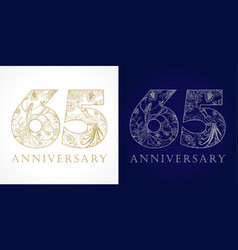 65 anniversary vintage silver gold vector image
