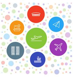 7 plane icons vector