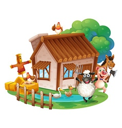 Animals and cottage vector image