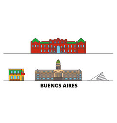 argentina buenos aires flat landmarks vector image
