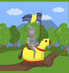 armed knight riding horse on summer landscape vector image
