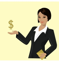 Asian business woman pointing to business trends vector