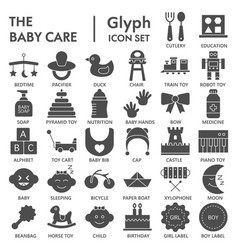 baby glyph signed icon set toy symbols collection vector image