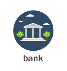 Bank icon flat style vector