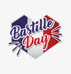 Bastille day celebration card with heart and flag vector