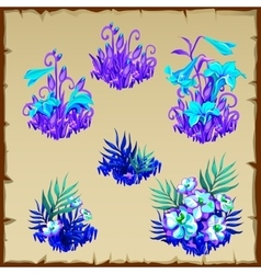 Big set fancy blue fairy flowers six items vector image