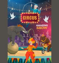 Big top circus animal and clown show vector