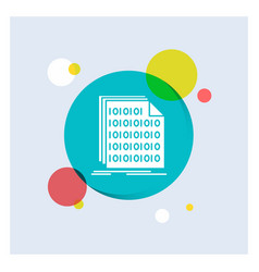 Binary code coding data document white glyph icon vector