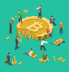 Bitcoin mining flat isometric low poly concept vector