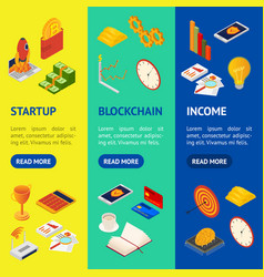 blockchain startup signs 3d banner vecrtical set vector image