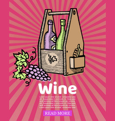 bottles wine in wooden crate and winery grapes vector image