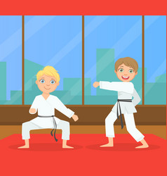 boys asian martial art fighters cute children vector image