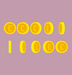british pound coin rotating animation sprite sheet vector image