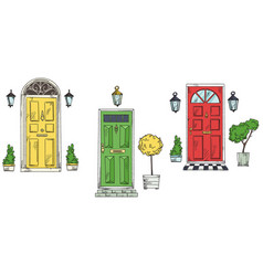 British traditional home entrance doors vector