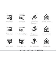 business targeting focus and perspective icon set vector image