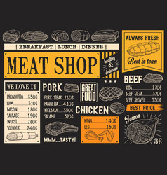 butchery products menu meat sketch chalkboard vector image