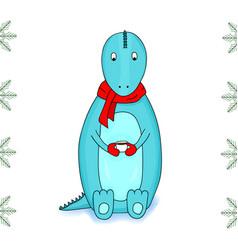Cartoon dinosaur wearing a scarf holding a cup vector