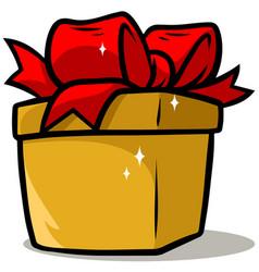 cartoon shiny yellow present gift box vector image