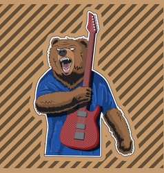 Character bear with a striped guitar in a rage vector