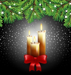 Christmas candles on black background vector image