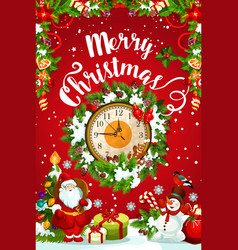 Christmas or new year midnight clock greeting card vector