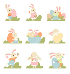 collection cute bunnies dressed in sweet vector image