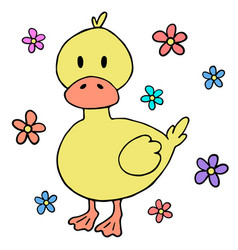 cute baby duck cartoon design element vector image