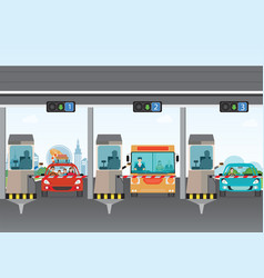 Driver cars passing through to pay road toll vector
