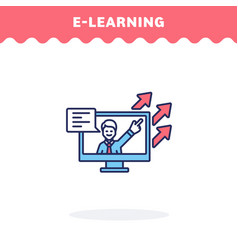 e-learning icon fill and line flat vector image