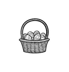 easter basket with eggs head hand drawn outline vector image