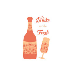 Exclusive cream color design for glass and bottle vector