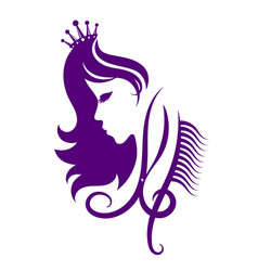 Face of a girl with a crown for a beauty salon vector