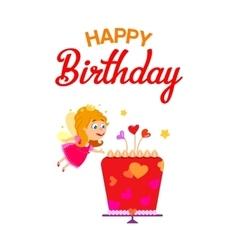 Fairy girl with birthday cake vector image