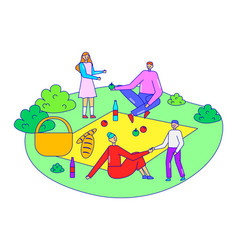 Family together relax picnic time character vector