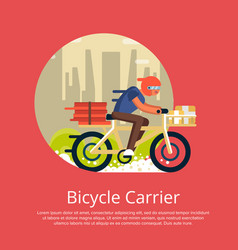 Fast food delivery poster with courier on bicycle vector
