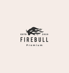 fire bull flame logo icon hipster retro vintage vector image