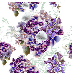 floral pattern with detailed flowers in purple vector image