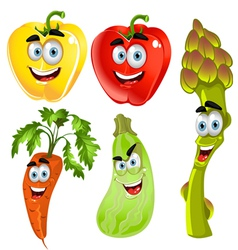 Funny cartoon cute vegetables peppers asparagus vector image