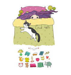 girl and cats set for sleep vector image