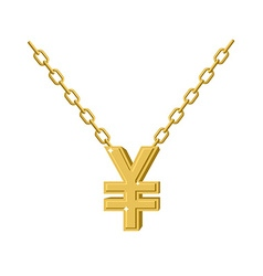 Gold Yen necklace Decoration chain Expensive vector image