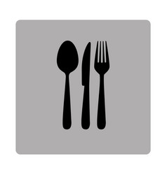 Gray square frame with silhouette cutlery vector