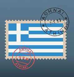 Greek flag stamp vector