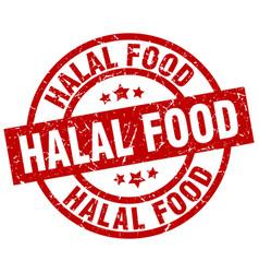 halal food round red grunge stamp vector image