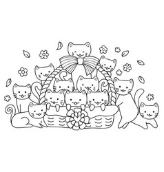 Hand drawn cute cats in basket for design element vector