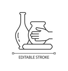 Handmade pottery linear icon vector