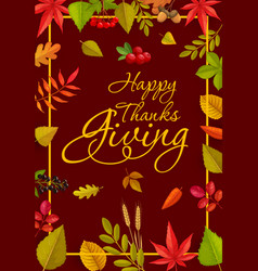 happy thanks giving poster or greeting card vector image