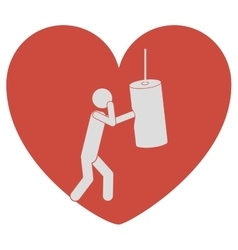 Heart shape with pictogram man knocking bag weight vector